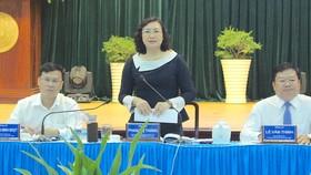 Phó Chủ tịch UBND TPHCM Phan Thị Thắng đang phát biểu tại buổi làm việc với quận Bình Tân. Ảnh: KIỀU PHONG