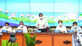 Thủ tướng Phạm Minh Chính phát biểu tại buổi làm việc. Ảnh: VIỆT DŨNG