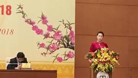 Chủ tịch Quốc hội Nguyễn Thị Kim Ngân phát biểu tại cuộc gặp mặt