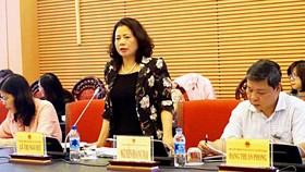 Đồng chí Lê Thị Nguyệt tại buổi làm việc. Ảnh: quochoi.vn