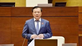 Bộ trưởng Bộ Tài chính Đinh Tiến Dũng phát biểu tại phiên thảo luận. Ảnh: VIẾT CHUNG