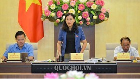 Chủ nhiệm Uỷ ban Tư pháp Lê Thị Nga phát biểu tại phiên họp