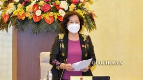 Chủ tịch Quốc hội Nguyễn Thị Kim Ngân  phát biểu tại phiên họp. Ảnh: Quochoi.vn