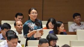 ĐB Hoàng Thị Thu Trang (Nghệ An) phát biểu tại phiên họp