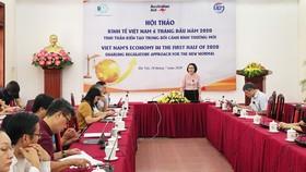 Bà Trần Thị Hồng Minh, Viện trưởng Viện Nghiên cứu quản lý kinh tế Trung ương (CIEM) phát biểu khai mạc hội thảo