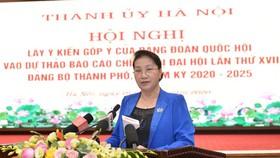 Đảng đoàn Quốc hội cho ý kiến vào Dự thảo Báo cáo chính trị của Đảng bộ TP Hà Nội