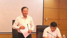 Thứ trưởng Bộ Tài nguyên - Môi trường Lê Minh Ngân phát biểu tại buổi làm việc
