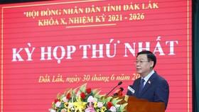 Chủ tịch Quốc hội Vương Đình Huệ phát biểu chỉ đạo tại kỳ họp thứ nhất của HĐND tỉnh Đắk Lắk khóa X, nhiệm kỳ 2021 – 2026