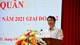 Thứ trưởng Bộ Kế hoạch và Đầu tư Trần Quốc Phương phát biểu tại lễ ra quân