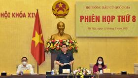 Chủ tịch Quốc hội, Chủ tịch Hội đồng Bầu cử quốc gia Vương Đình Huệ chủ trì phiên họp. Ảnh: QUANG PHÚC