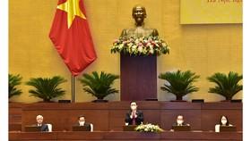 Chủ tịch Quốc hội, Chủ tịch Hội đồng Bầu cử quốc gia Vương Đình Huệ chủ trì hội nghị. Ảnh: VIẾT CHUNG