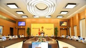 Quang cảnh phiên họp thứ 58, phiên họp cuối cùng của Ủy ban Thường vụ Quốc hội khoá XIV