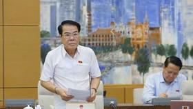 Trưởng Ban Dân nguyện Dương Thanh Bình báo cáo tại phiên họp. Ảnh: TTXVN