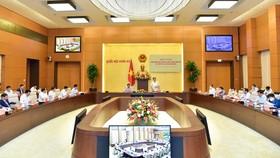 Chủ tịch Quốc hội Vương Đình Huệ và Thủ tướng Chính phủ Phạm Minh Chính chủ trì hội nghị giữa Đảng đoàn Quốc hội và Ban Cán sự Đảng Chính phủ. Ảnh: VIẾT CHUNG