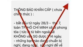 """Thông tin """"TPHCM sẽ phong tỏa 14 ngày từ 28-3-2020"""" là hoàn toàn bịa đặt"""