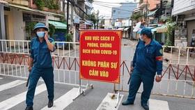 Lực lượng chức năng phong toả tuyến đường Hồ Văn Đại, phường Quang Vinh, TP.Biên Hoà, tỉnh Đồng Nai vào sáng ngày 3-8