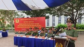 Thiếu tướng Lê Hồng Nam, Giám đốc Công an TPHCM phát biểu tại buổi lễ. Ảnh: CHÍ THẠCH
