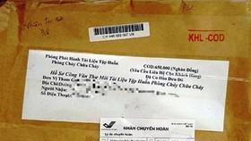 Một số bưu phẩm dạng nhận hàng thu tiền được các đối tượng gửi đến nhiều cơ quan, doanh nghiệp và hộ kinh doanh trước đó