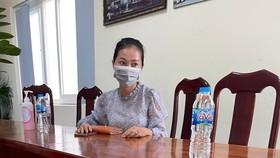 Nguyễn Thị Thùy Dương tại cơ quan công an. Ảnh: CA