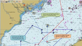 Vị trí tàu cá bị chìm có độ sâu trên 60m