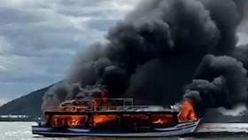 Tàu cháy trên vùng biển Kiên Giang