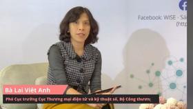 Bà Lại Việt Anh, Phó Cục trưởng Cục Thương mại điện tử và kỹ thuật số (Bộ Công thương) chia sẻ tại Hội chợ trực tuyến ngày 5-12