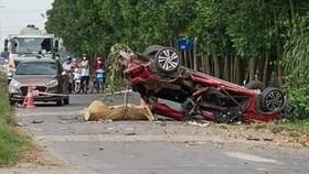 Hiện trường tai nạn xảy ra tại huyện Lương Tài (tỉnh Bắc Ninh) ngày 4-10