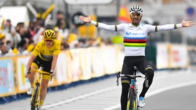 Alejandro Valverde ăn mừng trên đường đua