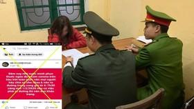 Công an làm việc với chị Việt Tr. về nội dung thông tin sai sự thật trên Facebook. Ảnh: Công an cung cấp
