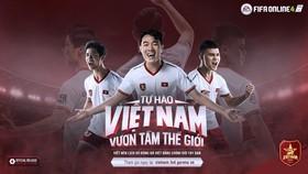 Công Phượng (trái), Xuân Trường (giữa) và Quang Hải trong phiên bản game FIFA Online 4