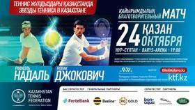 Hình ảnh quảng bá sự kiện thi đấu từ thiện giữa Nadal và Djokovic ở Kazakhstan
