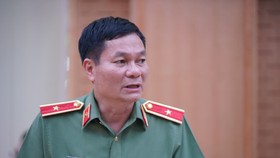 Major General Le Minh Manh in the press conference related to attack on VOV Online Newspaper