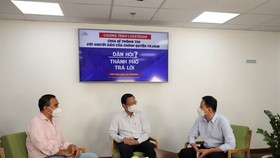 Chairman of HCMC People's Committee Phan Van Mai in the livestream session