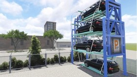 Perspective of the carousel parking system in the e-Parking project