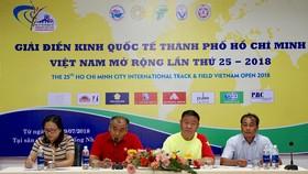 Quang cảnh buổi họp báo Giải điền kinh quốc tế mở rộng năm 2018. Ảnh: Hoàng Hùng