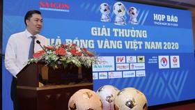 Ông Cao Văn Chóng trong bài phát biểu chào mừng giải thưởng năm nay. Ảnh: DŨNG PHƯƠNG
