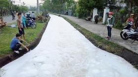 Lớp bọt trắng xóa xuất hiện từ chiều ngày 25-2 trên đoạn kênh N10A qua 2 xã Tam Phước, Tam An (huyện Phú Ninh, Quảng Nam)