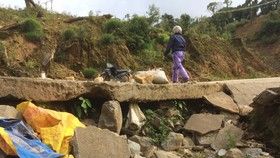 Một vị trí có biểu hiện đang bị hư hỏng mới trên đoạn tuyến Măng Ri- Ngọc Linh