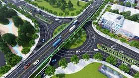 Phối cảnh nút giao thông phía Tây cầu Trần Thị Lý sau khi hoàn thiện