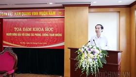 Đồng chí Nguyễn Thái Học, Phó trưởng Ban Nội chính Trung ương, Chủ tịch Hội đồng khoa học Ban Nội chính Trung ương phát biểu khai mạc Tọa đàm. Ảnh: noichinh