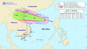 Bản đồ đường đi của bão số 7. Ảnh: TTXVN