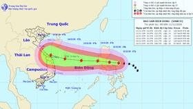 Đường đi của bão Vamco trên Biển Đông. Ảnh theo Trung tâm khí tượng thủy văn quốc gia