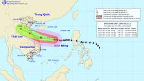 Đường đi của bão số 13. Ảnh: theo Trung tâm Dự báo khí tượng thủy văn quốc gia