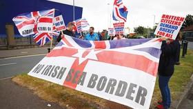 Người dân Bắc Ireland phản đối quy định ngăn sông cấm chợ hậu Brexit. Ảnh: REUTERS