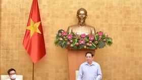 Thủ tướng Phạm Minh Chính chủ trì và phát biểu tại phiên họp Chính phủ chuyên đề về xây dựng pháp luật, ngày 17-8. Ảnh: VIẾT CHUNG