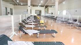 Bên trong khu điều trị Covid-19 GSI 1.400 giường tại thị xã Bến Cát. Ảnh: TTXVN