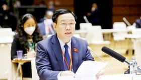 Chủ tịch Quốc hội Vương Đình Huệ phát biểu tại hội nghị