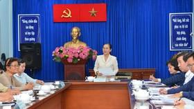 Chủ tịch HĐNDTPHCM Nguyễn Thị Lệ phát biểu trong buổi tiếp bà Phạm Thị Diên Hồng. Ảnh: VIỆT DŨNG