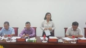 Phó Trưởng ban Thường trực Ban Dân vận Thành ủy TPHCM Nguyễn Thị Bạch Mai phát biểu tại buổi làm việc