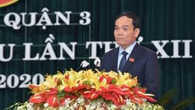 Phó Bí thư Thường trực Thành ủy TPHCM Trần Lưu Quang phát biểu tại Đại hội Đảng bộ quận 3, ngày 17-8-2020.Ảnh: VIỆT DŨNG